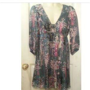Tibi New York Pleated Plunge Neckline Dress